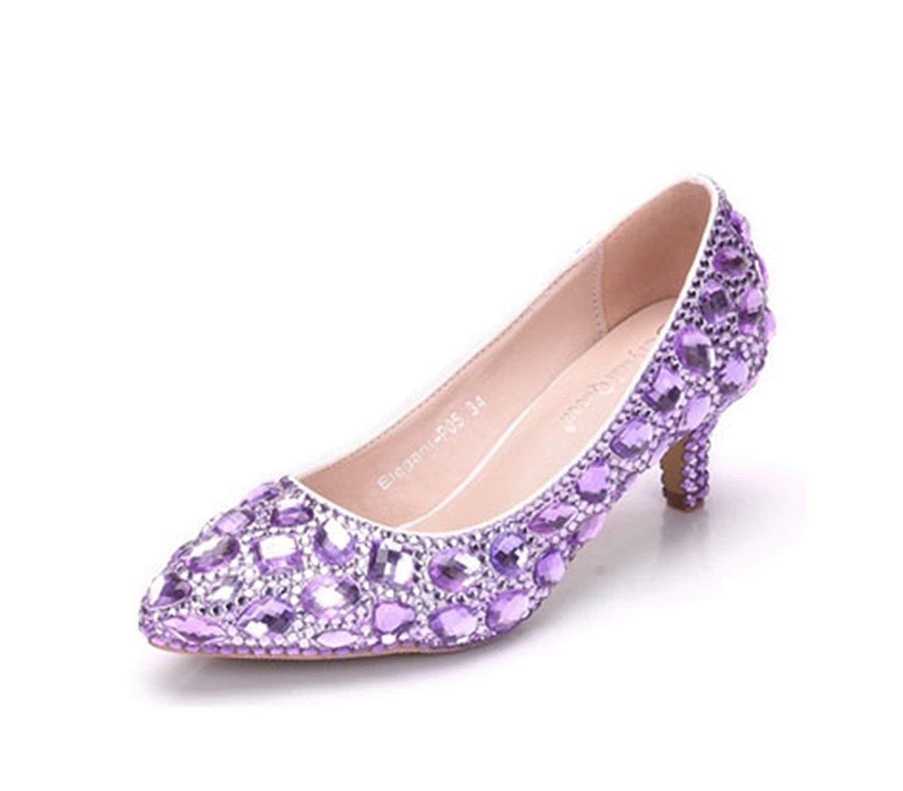 Qiusa Damen Low Heel Strass Perlen Slip-on Slip-on Slip-on Hochzeitskleid Party Schuhe (Farbe   lila-6cm Heel, Größe   4.5 UK)  d3498c