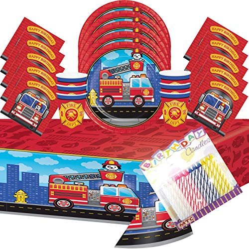 (Flaming Fire Truck Party Plates Napkins Cups and Table Cover Serves 16 with Birthday Candles - Fire Truck Party Supplies Pack Deluxe (Bundle for)