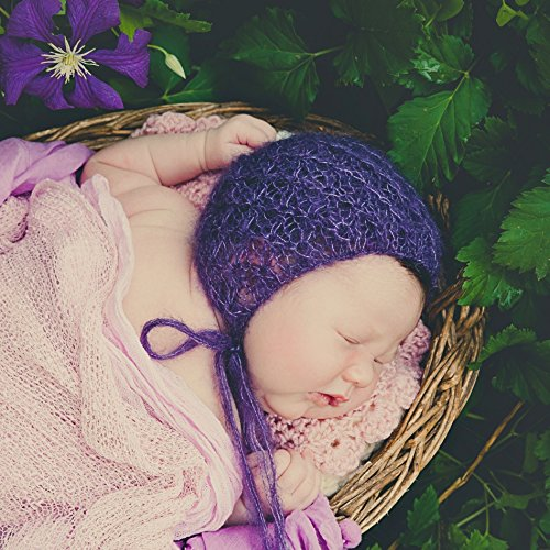 Luxury knitted newborn bonnet, Christmas Gift for Baby, mohair and silk Baby hat (Luxury Mohair)