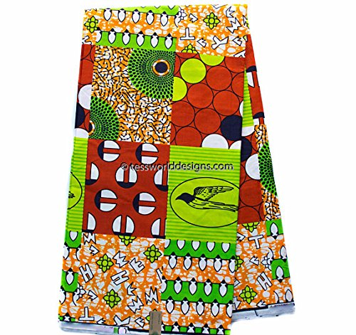 Wholesale Faux Patchwork Fabric 6 Yards African Fabric Ankara Fabric | Hollandais African Wax Print Cotton Print WP1009 (Orange and Green)