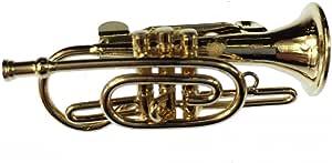 Miniblings Cornet Broche de Insignias fliscorno Pin + Caja de Trompeta Trompeta de Oro