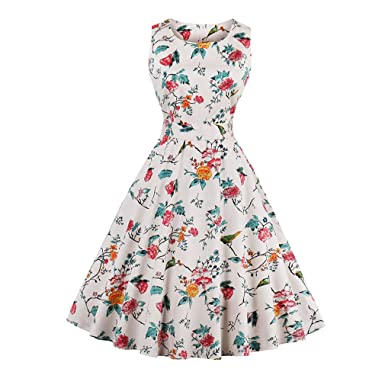 KeKeD23921 Womens Vintage Retro Dress Foral Print Rockabilly Christmas Dress Hepburn Casual Party Swing Dress Vestidos