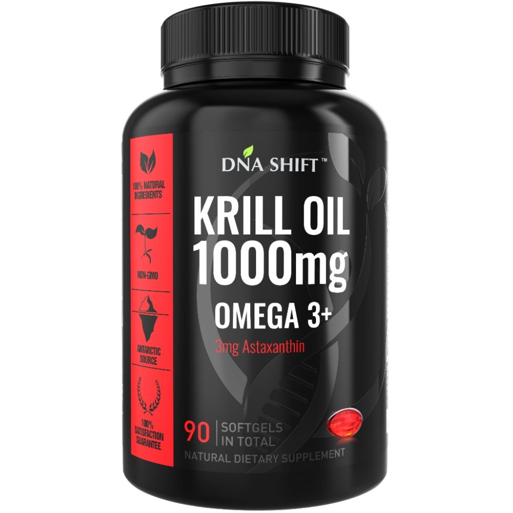 DNA Shift Krill Oil 1000 mg with Astaxanthin 3mg - Pure omega 3 krill oil - Antarctic krill oil capsules 1000mg - Super krill oil supplement best for Men and Women - 90 liquid krill oil softgels