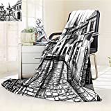 AmaPark Digital Printing Blanket Peaceful City Drawing Restaurant Terrace Sketch Downtown Scene Black White Summer Quilt Comforter
