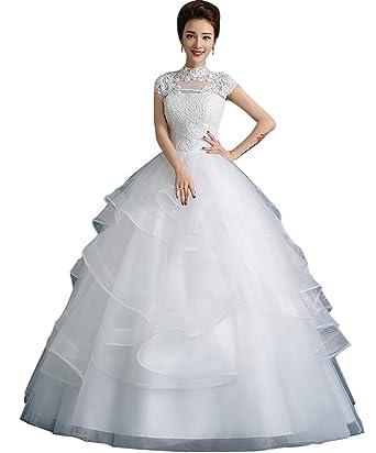 JJ-GOGO Women\'s Halter Lace Wedding Dress Korean Floor Length Cap ...