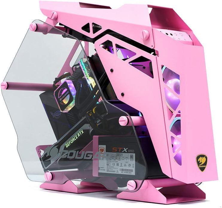 Caja de PC Gaming Cougar Mini Conquer, Aluminio + Cristal Templado Rosa: Amazon.es: Informática