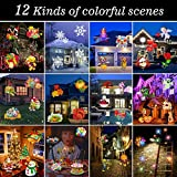 ADDSMILE Holiday LED Projector Lights, Portable Battery Operated Flashlight with 12 Slides, Auto Rotating Spotlight and Party Decoration Light for Home/Birthday/Christmas/Halloween