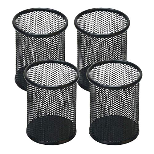 Desk Pen Holder - Snow Cooler Pen Holder Mesh Pencil Holder for Desk Office Pen Organizer Black, 4 Pack