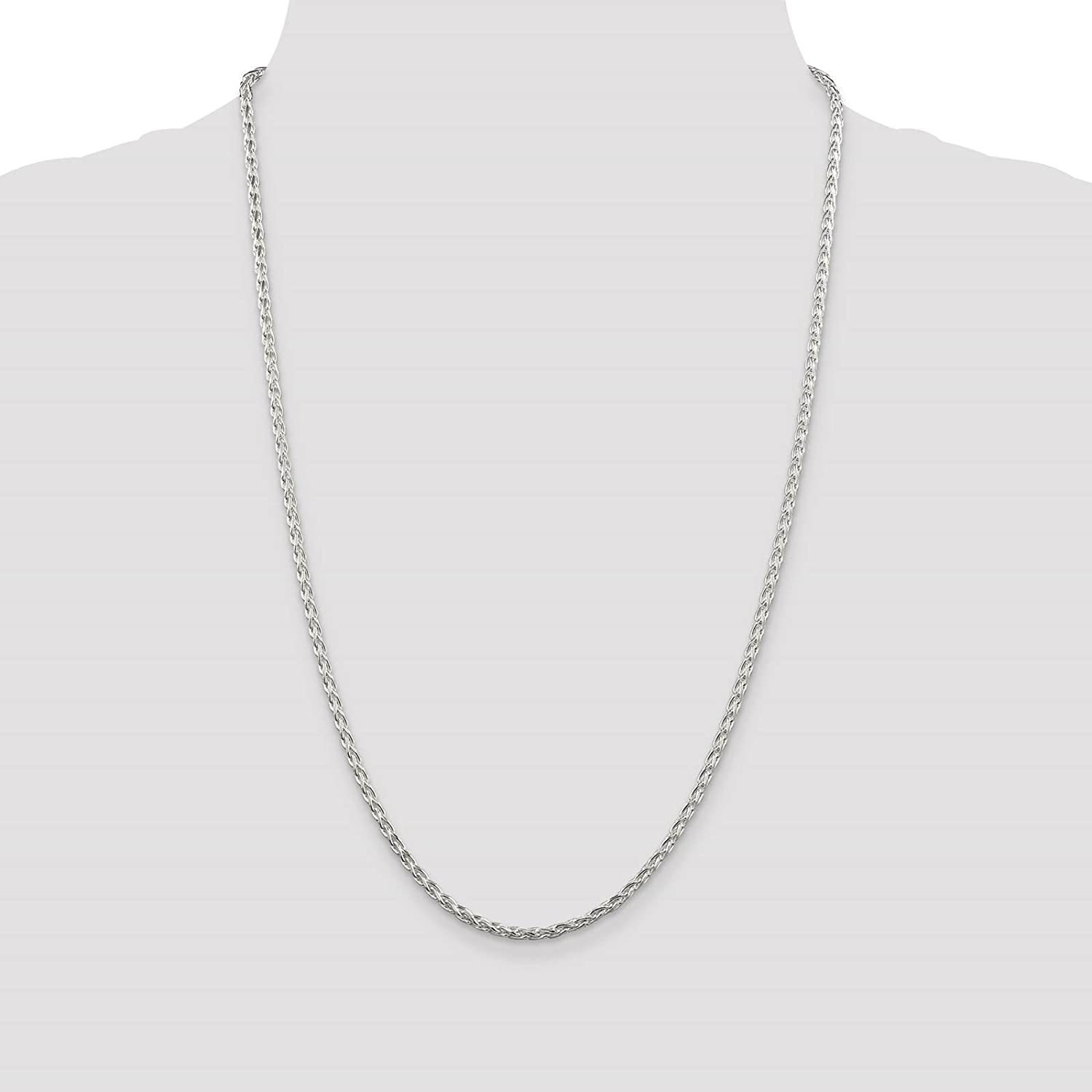 925 Sterling Silver 2.8mm Diamond-cut Round Spiga Chain Necklace 18-24