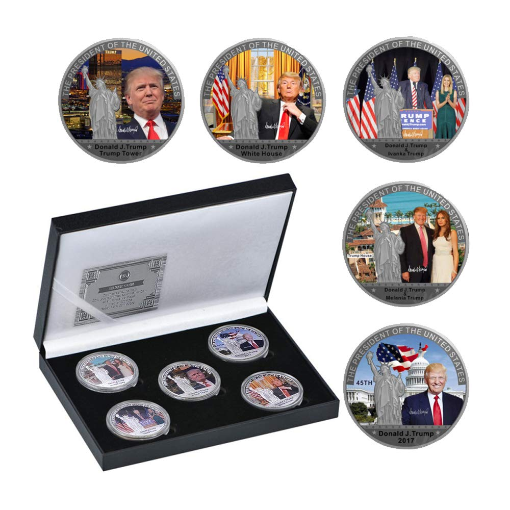 5 PCS Commemorative Coin for Collection with Gift Box,A Great Coin Collecting Gifts for Husband, Father, Friends,Fans,Father's Day (Trump) by SW
