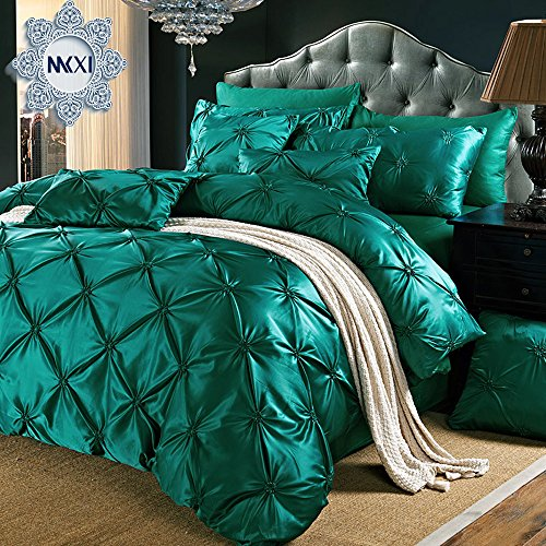 MKXI 3 Piece Modern Pinch Pleated, Ruffled & Pleated Duvet Cover Set Shams Luxury Silk Cotton