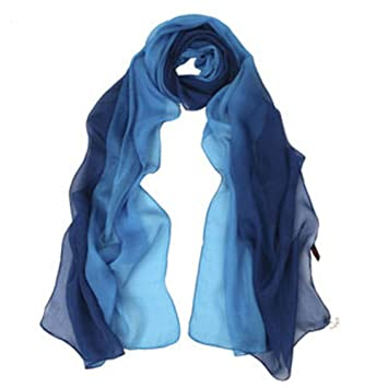 SIGI Ladies fashion Silk Scarf Gradient colour Shawl Scarves (blue)   Amazon.co.uk  Sports   Outdoors ca7a6188e4492