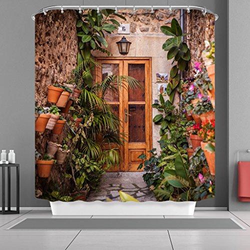 180X 180CM Spanish House Print Polyester Fabric Shower Curtain - 2