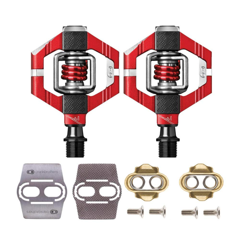 CRANKBROTHERs Crank Brothers Candy 7 Bike Pedals (Red) with Premium Cleats and Shoe Shields Pair for Traction