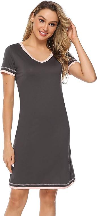 Hawiton Camisón Mujer Verano Camisones de Algodon Manga Corta Ropa de Dormir Cuello en V Pijamas Vestir Camisónes Loungewear Elegante: Amazon.es: Ropa y accesorios