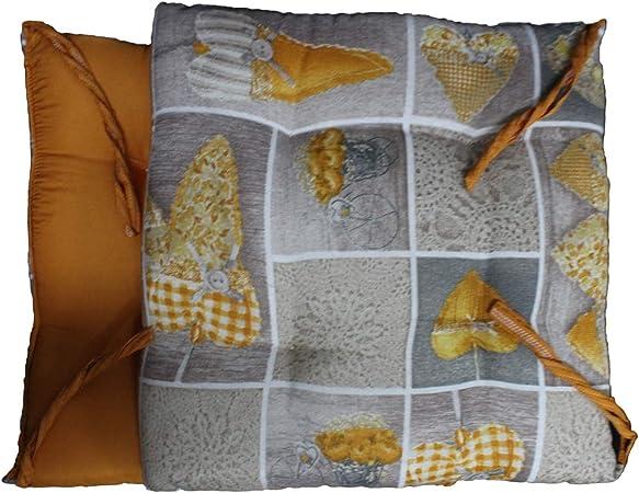 Russo Tessuti 6 Cuscini Sedie Cucina Coprisedia Imbottiti Cuore Allungato Laccetti Vari Colori Giallo
