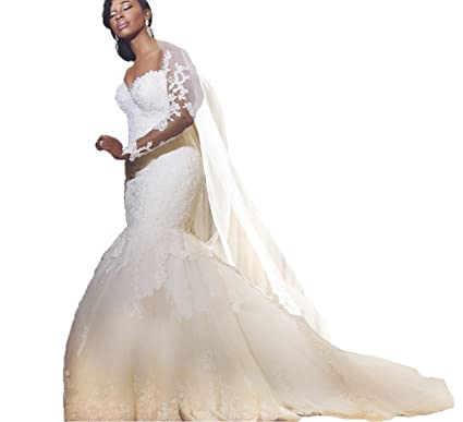 eea1b772b1 Diandiai Women Long Sleeve Lace Wedding Dresses Plus Size Mermaid Wedding  Dress Ivory 2