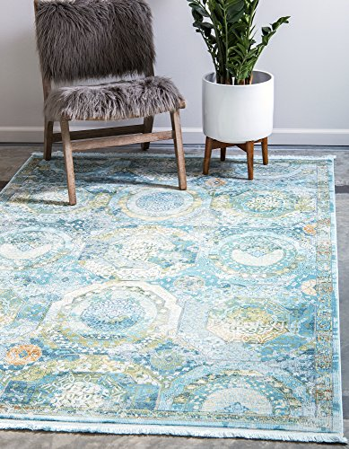 Unique Loom Baracoa Collection Bright Tones Vintage Traditional Light Blue Area Rug (4' 3 x 6' 0)