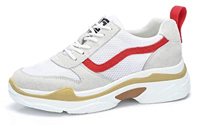 CAMEL CROWN Damen Chunky Daddy Sneaker Leder Fitness Mode Retro Schüler Casual Schuhe für Schule Reise Urlaub Mesh Atmungsaktiv Leicht Khaki Beige