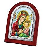 FengMicon Icon of Virgin Mary and Baby Christ Wooden Back with Metal Trim Frame Christian Icon Catholic Gift