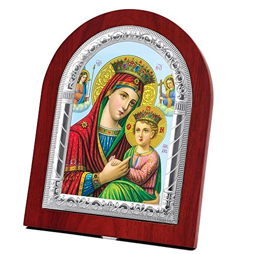 FengMicon Icon of Virgin Mary and Baby Christ Wooden Back with Metal Trim Frame Christian Icon Catholic Gift by FENGMICON