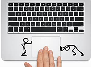 Cute Cartoon -Pushing and Standing Silhouette - Macbook Trackpad-laptop