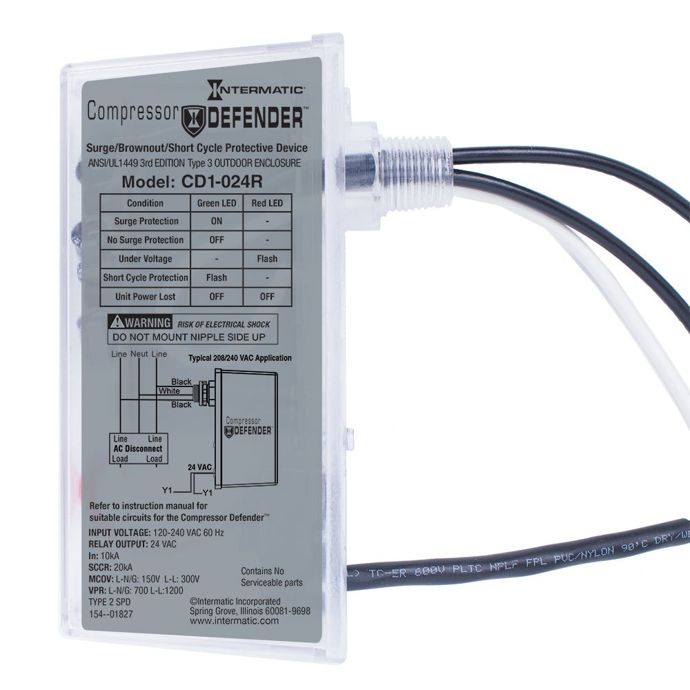 Intermatic CD1-024R Compressor Defender Protects Central Air Conditioner / Heat Pump Compressors and Circuit Boards by Intermatic