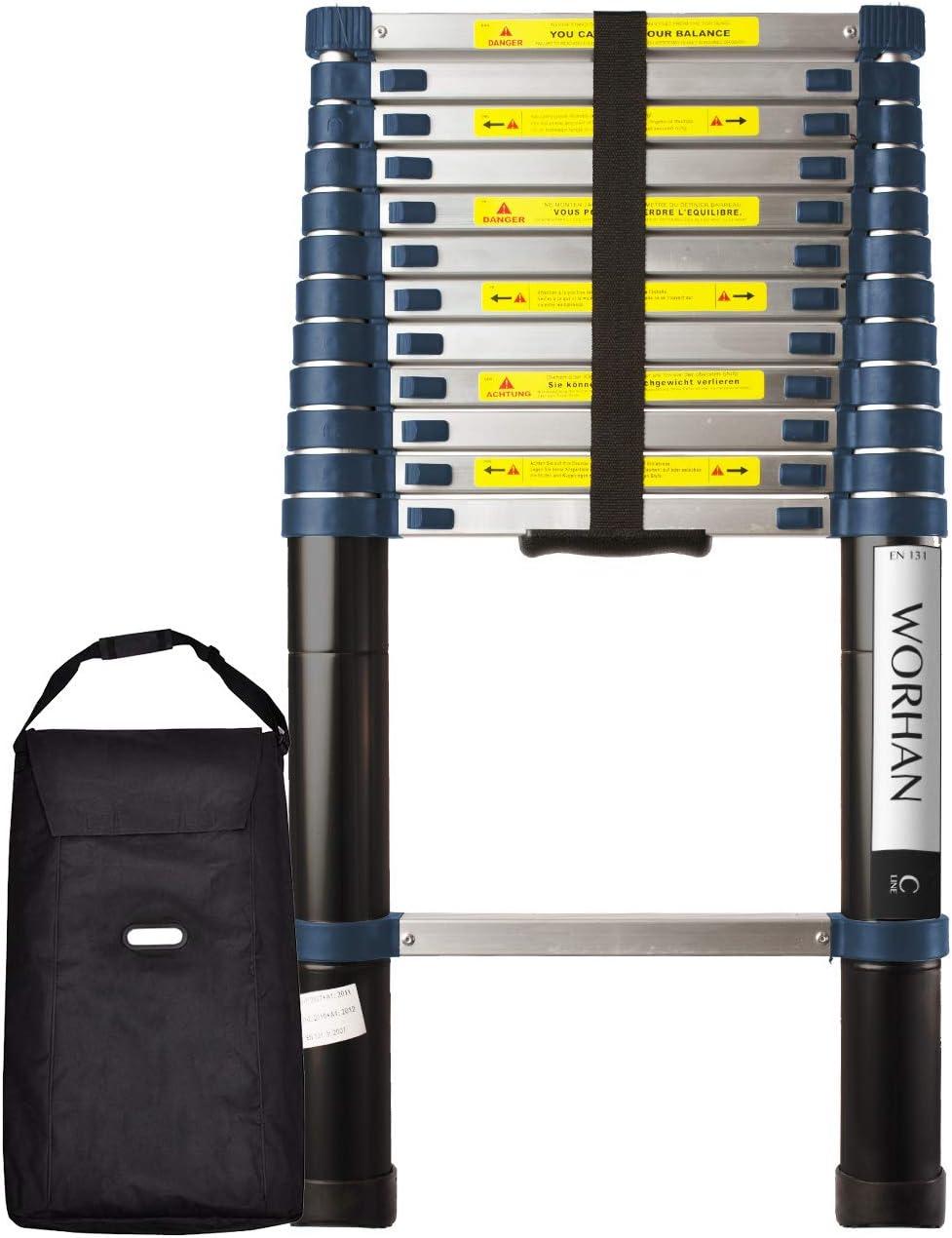 WORHAN® 3.8m Escalera Telescopica PRO Multiuso Aluminio Anodizado Calidad Alta 380cm (.3.8m C-line & bolsa) 1K3.8C+bag: Amazon.es: Bricolaje y herramientas