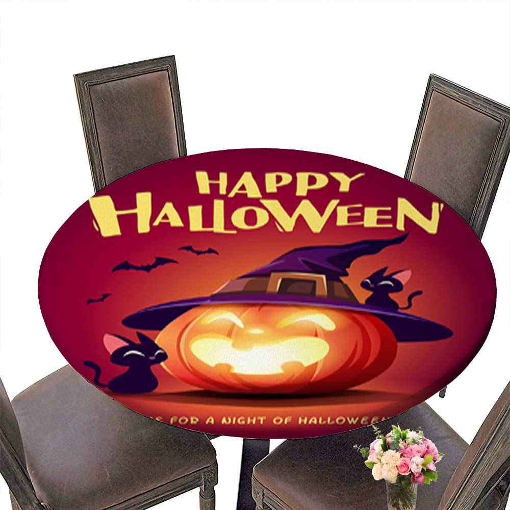 Polyester Happy Halloween Halloween Pumpkin Black Cat and Jack O Lantern Pumpkin with wi Linen Cotton Round Tablecloths for Kitchen Room up to 31.5''-33.5'' Diameter