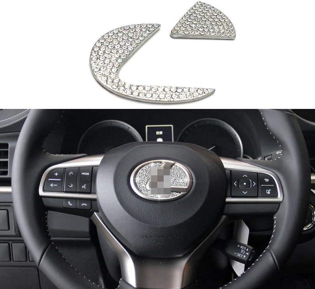 MAXMILO Car Interior Bling Accessories for Lexus ES NX RX LS is CT LX UX GS LC RC GS-F RC-F Steering Wheel Sign Logo 3D Rhinestone Decals Cover