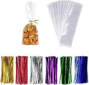LiyuanQ 300 Pcs Clear Candy Bags Clear Cellophane Bags 2