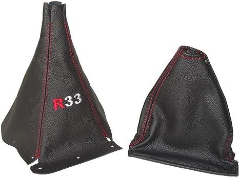 Pour Nissan Skyline R33/1993 1998/Gear Gu/être en cuir noir coutures rouge