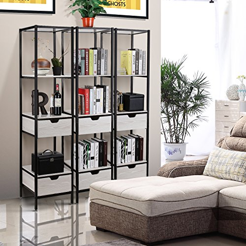 HOMFA Living Room Free Standing Shelves, 4-Tier Storage Shelf Organizer Rack with 2 Wood Drawer, Durable Functional Modern Furniture Decor for Home Office