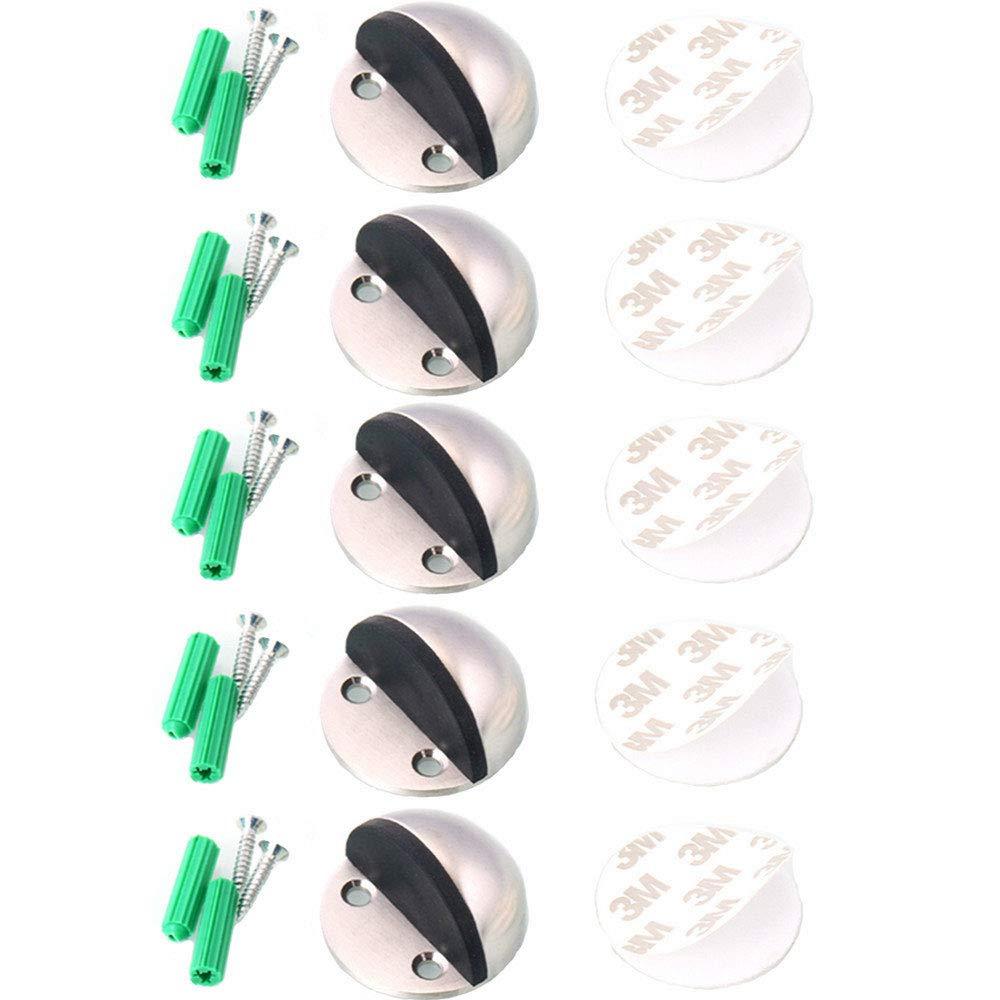 Floor Door Stoppers - EvaGO Stainless Steel Safety Door Stopper with Rubber Bumper, Floor Mounted Doorstop with Hardware Screws and 3M Adhesive, Heavy Duty Brushed Finish Door Stop (5)