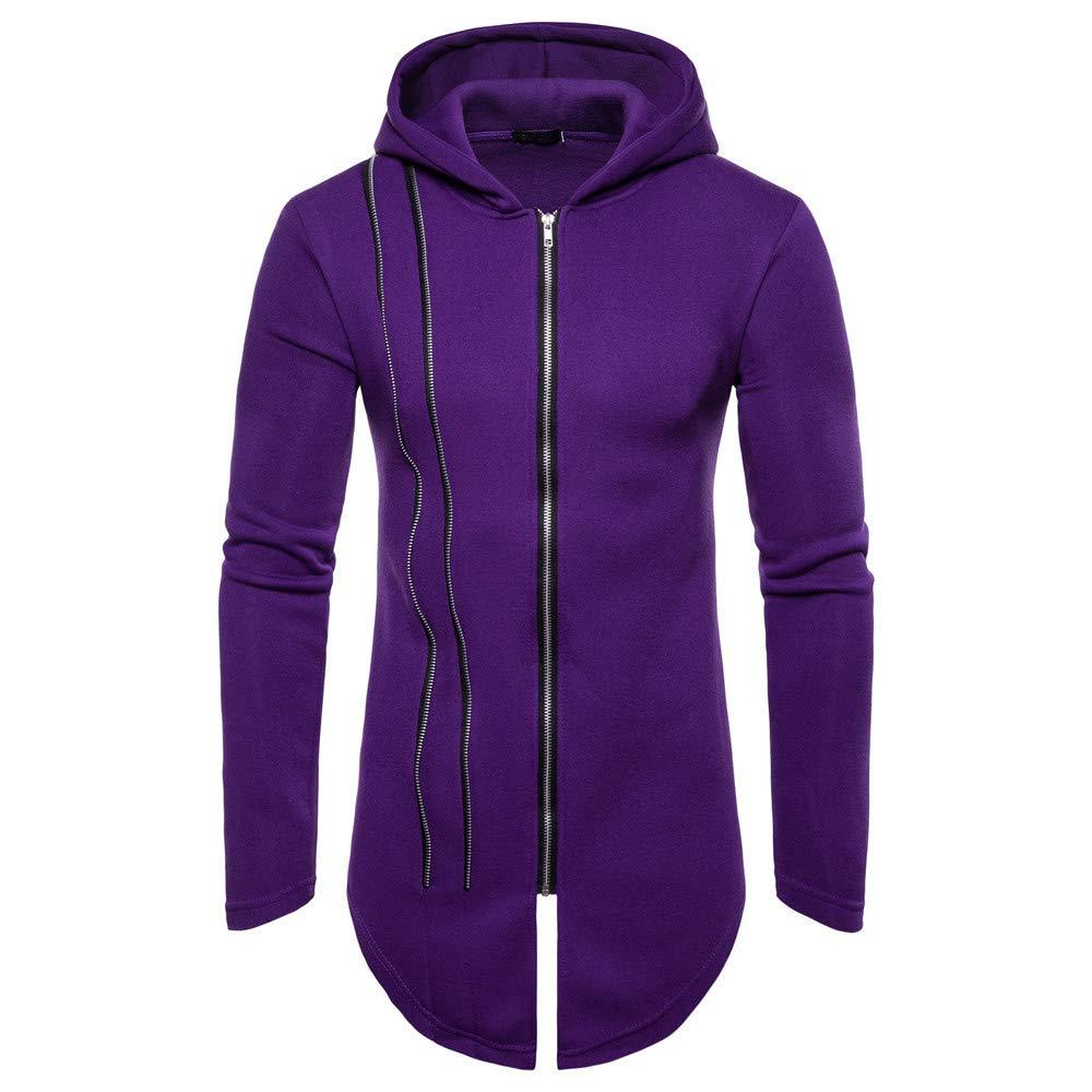 Kaniem Hooded Jacket,Mens Unique Line Design Zipper Hooded Sweatshirt Coat Long Outerwear (2XL, Purple) by Kaniem