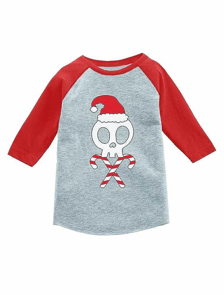 Skulls Cross-Bones Santa Hat Cute Xmas 3//4 Sleeve Baseball Jersey Toddler Shirt