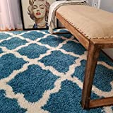 Soft Shag Area Rug 3x5 Moroccan Trellis Turquoise Blue Shaggy Rug - Contemporary Area Rugs for Living Room Bedroom Kitchen Decorative Modern Shaggy Rugs