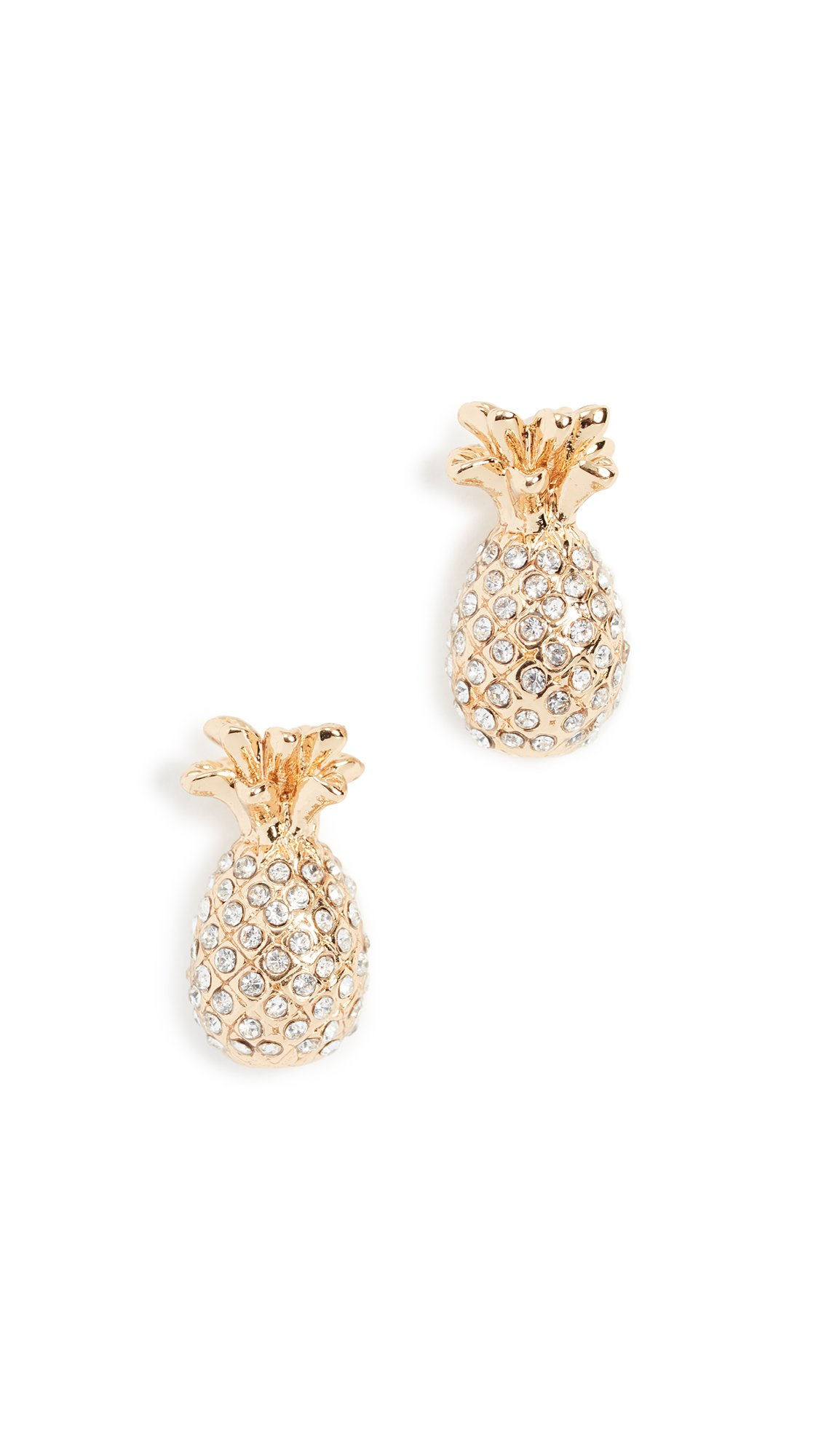 kate spade new york Womens Pave Pineapple Mini Stud Earrings, Clear/Gold