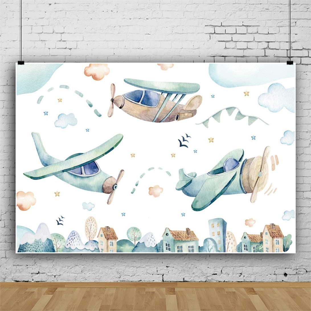 Yeele Airplane Theme Backdrop Watercolor Painting Birthday Party Photography Background 6x4ft Birthday Baby Shower Banner Baby Kids Portrait Preschool Events Photo Booth Dessert Table Wallpaper