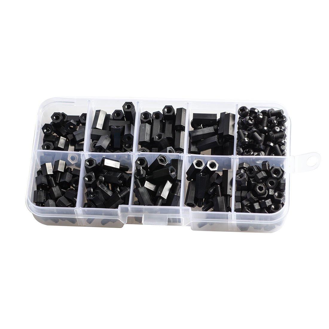 Wolfwhoop 300PCS M3 Nylon Black Hex Screw Nut Spacer Standoff Varied Length Assortment Box