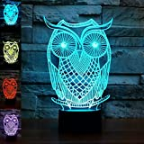 3D Owl Night Light Animal Eagle 3D Night Lights Lamp Touch Switch Decor Table Desk Optical Illusion Lamps 7 Color Changing Lights LED Table Lamp Xmas Home Love Brithday Children Kids Decor Toy Gift
