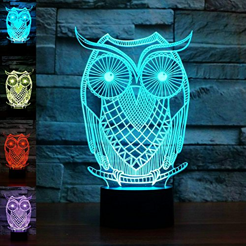 3D Owl Night Light Animal Eagle 3D Night Lights Lamp Touch Switch Decor Table Desk Optical Illusion Lamps 7 Color Changing Lights LED Table Lamp Xmas Home Love Brithday Children Kids Decor Toy Gift by MOLLY HIESON