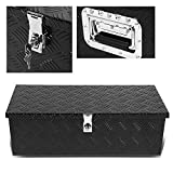 36'' Black Aluminum Truck Bed Underbody Tool Box Pickup Trailer RV Tongue Tool Storage Box W/ Lock
