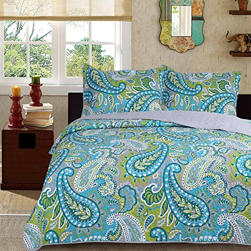 3-Piece Fine printed Quilt Set KING SIZE Bedspread Coverlet Bed Cover Turquoise Blue Green Paisley