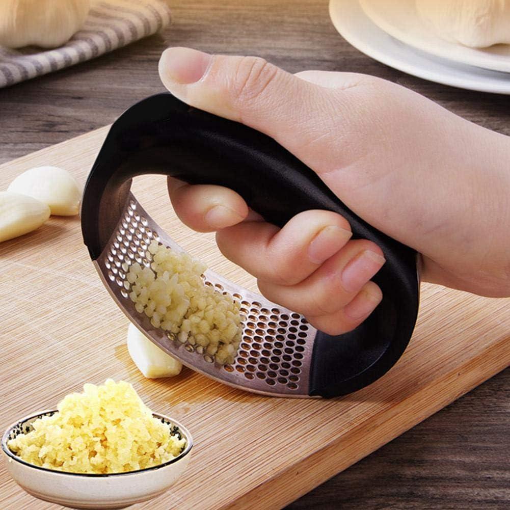 Professional Garlic Ginger Smasher,Stainless Steel Garlic Press Rocker Garlic Crusher Squeezer Slicer