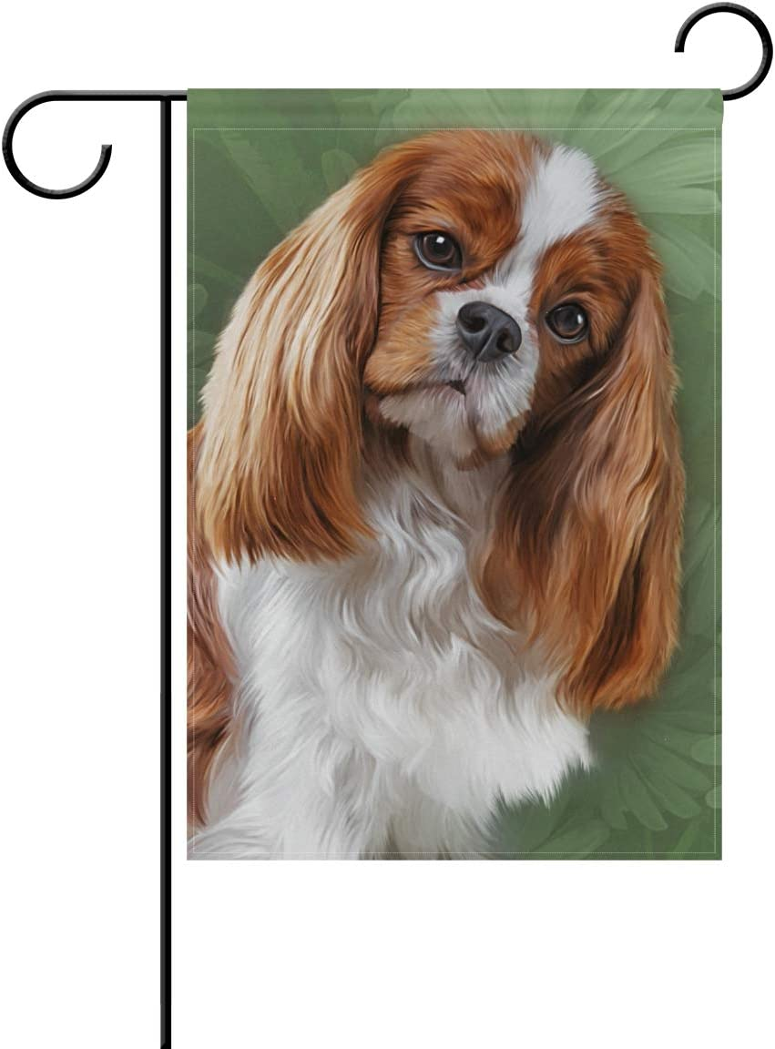 Hokkien Oil Painting Cavalier King Charles Spaniel Dog Garden Flag Banner 12 x 18 Inch Decorative Garden Flag for Outdoor Lawn and Garden Home Décor Double-Sided