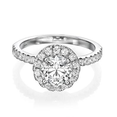 c203aedcbc White Gold Engagement Ring 2.70CT Round Cut Man Made Diamond D/VVS1 14ct:  Amazon.co.uk: Jewellery