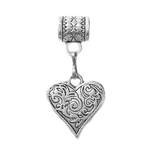 Handmade Tibetan Silver Heart Key Charm
