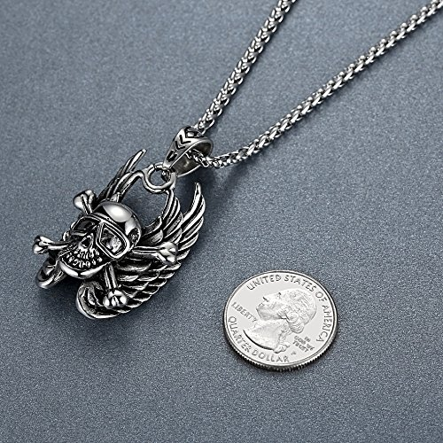 Aoiy - Collier avec pendentif hommes - Acier Inoxydable - gothique os croisés de crâne d'aile chaîne 61cm - aap027