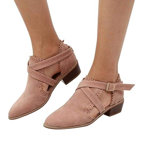 Zapatos tacón alto de mujer, Sonnena Zapatos de punta estrecha para mujer Botines de color